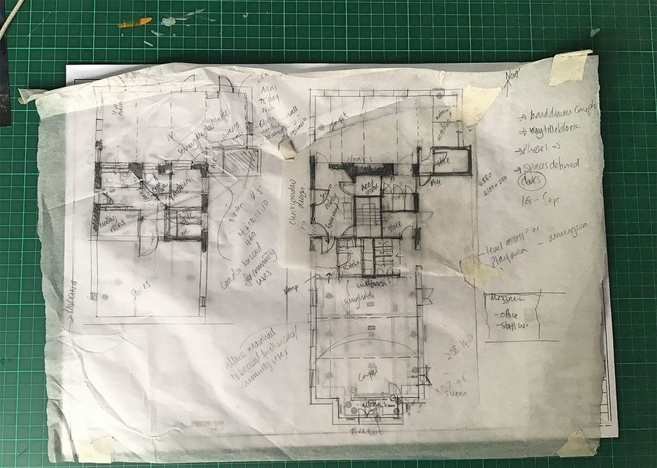 Stead & Co, drawings for the reconfiguration of Sandy Hill Methodist Church in Bradford. The aim is to remodel the church to meet the needs of its tenants – an afterschool club, preschool and the scouts.