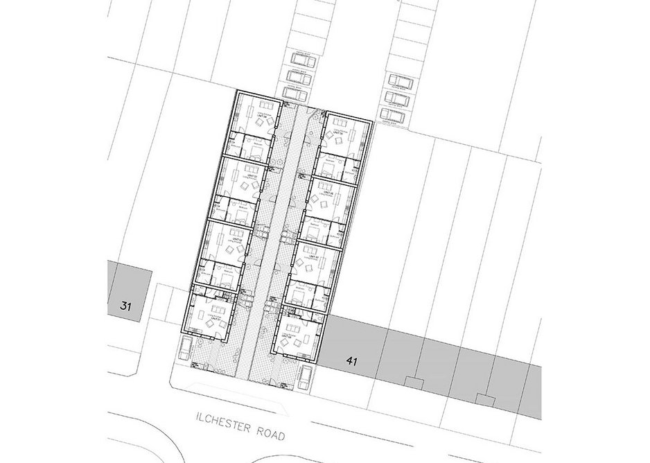 Ground plan of the eight homes.