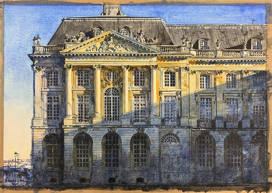 Place de la Bourse, Bordeaux (watercolour 370mm × 260mm)
