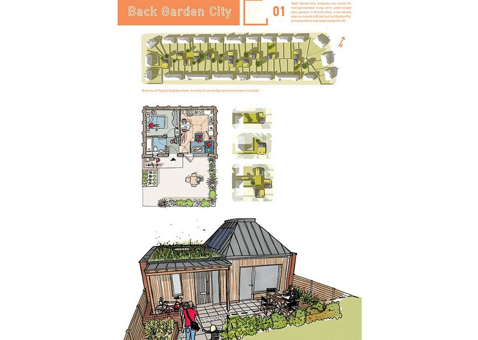 Barefoot Architects' visualisation and plan for a garden home.