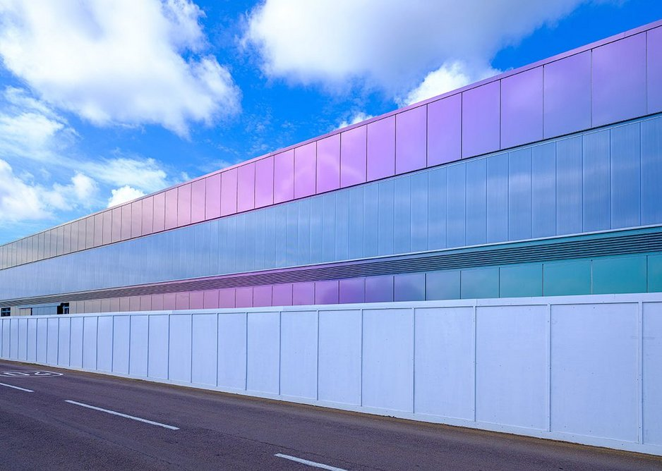 Silverstone Interactive Museum: An iridescent exterior is achieved with PPC aluminium rainscreen panels in Spectra finish.