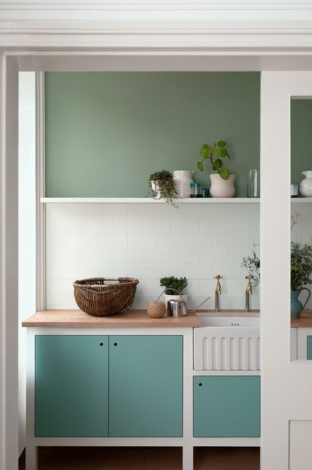 Wall in Salvia; cupboard in Deep Water Green, both Pure Flat Emulsion.