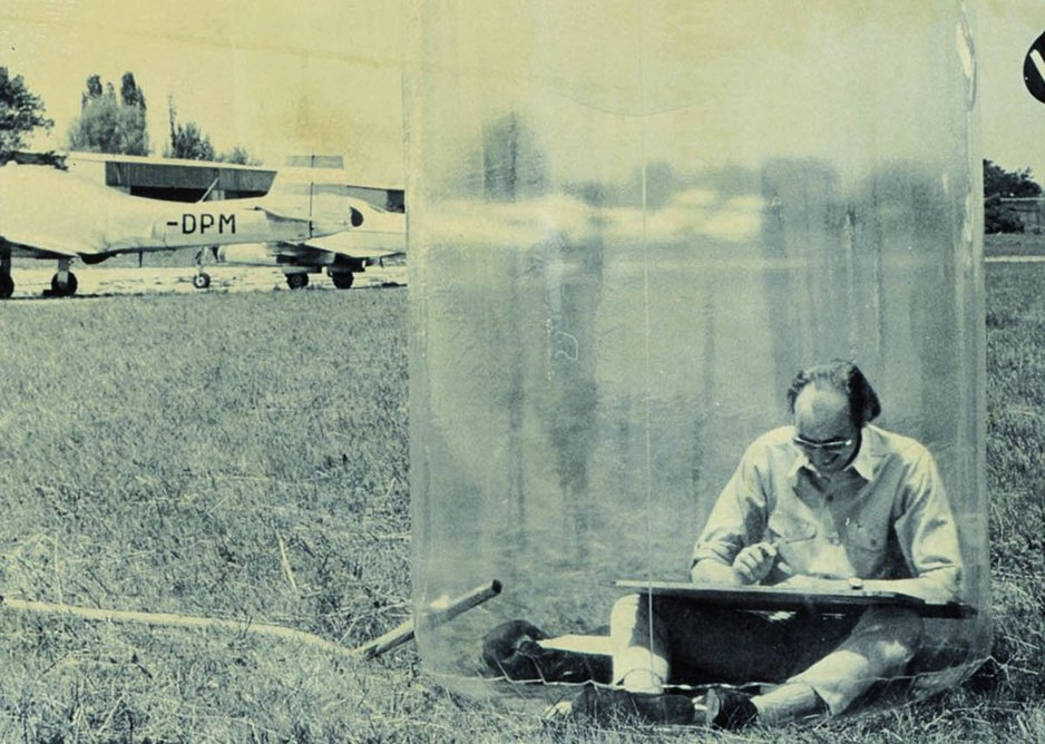 Hans Hollein in his 'Mobile Office; 1969.