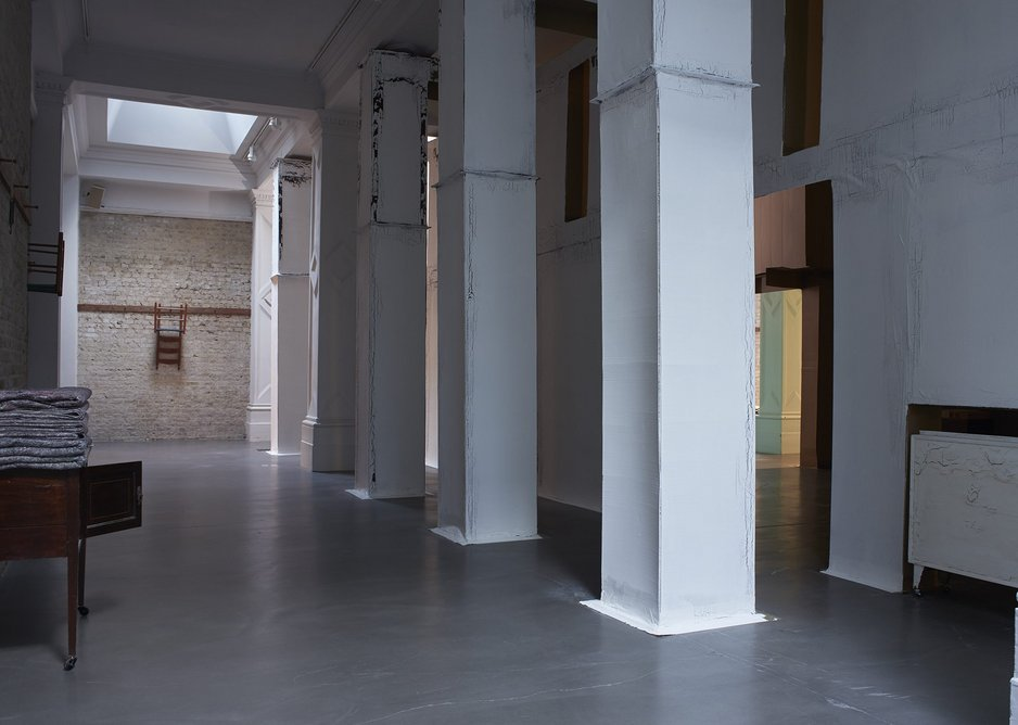 Installation view of Carlos Bunga: Something Necessary and Useful, 2020, at the Whitechapel Gallery. The cardboard structure will be altered and reconfigured throughout the duration of the installation.