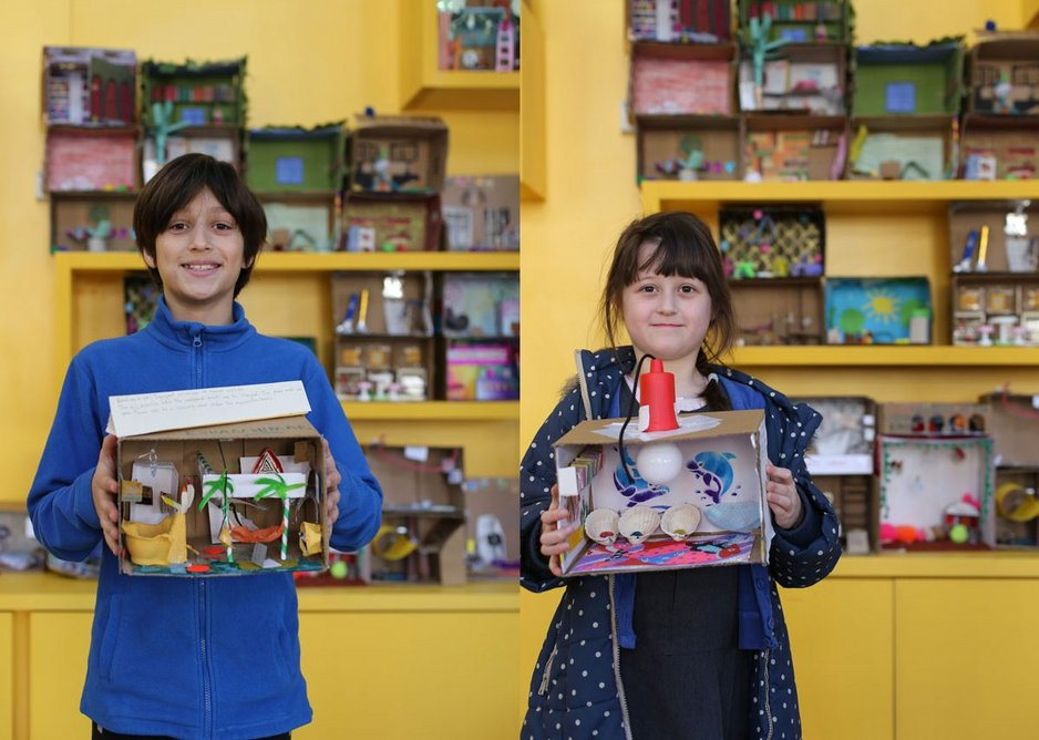Children with their dream library models, which informed the brief for Thornhill Primary School's library designed by Jan Kattein Architects.