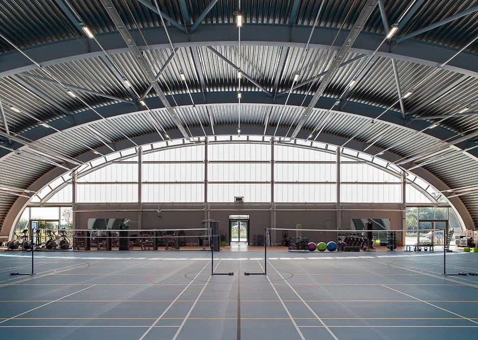 Inside the Hangar, sports pitch and gym.