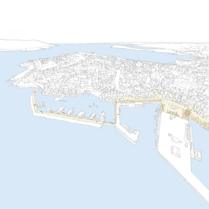 Infrastructure to tackle rising sea levels at Lerwick, envisaged by local citizen Alastair Hamilton with Ewan Anderson of 7NArchitects as part of What if…?/Scotland. Image Courtesy of 7N