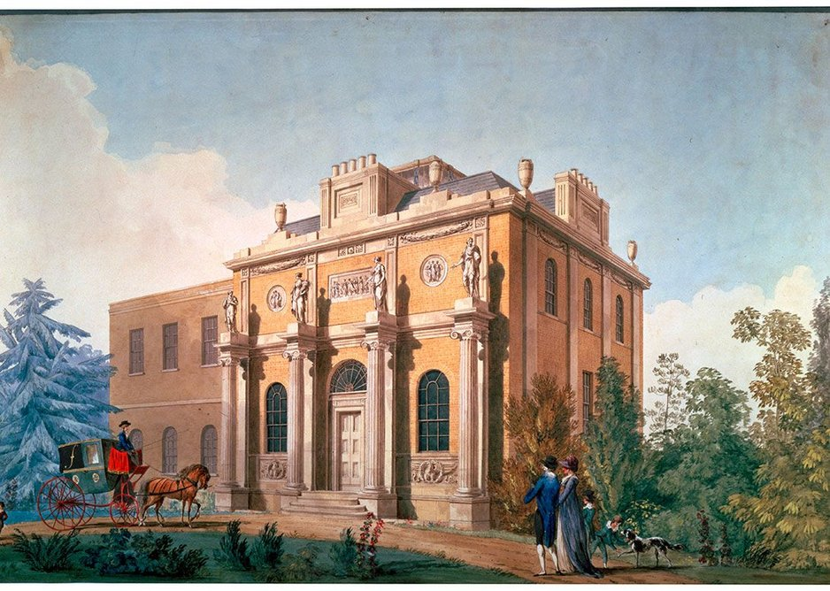 Pitzhanger Manor as drawn by Joseph Gandy in 1800, Ealing, London designed by John Soane and reworked by Jestico + Whiles and Julian Harrap Architects.