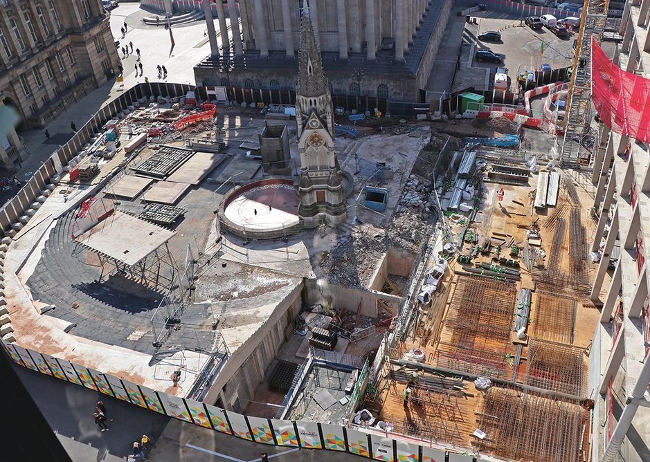 On the former site of John Madin's library next to the town hall and museum, Paradise by Argent better connects the area outside the town hall (seen here) with Centenary Square beyond. Works are well under way, including new office buildings completed by Eric Parry Architects and Glenn Howells Architects. Chamberlain Square will open at the end of 2019, the ring road will be downgraded and one arm of the roundabout gone.