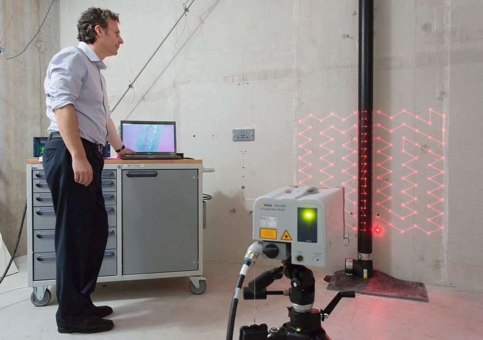 Acoustics testing at Geberit's building technology and acoustics laboratory.