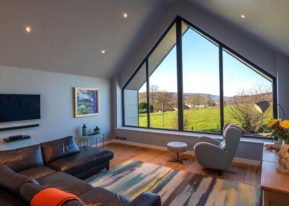 Bright outlook: the view out towards Darley Dale from the light-filled living room.