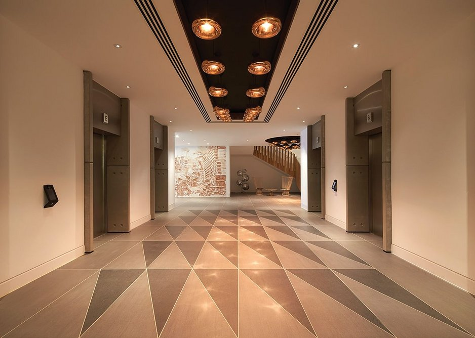 Art deco style and Dixon lighting in the corridors by the lifts.