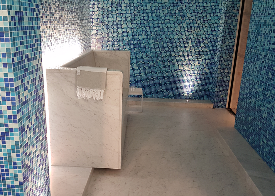 Mosaic-tile finish and low level concealed lighting in the spa.