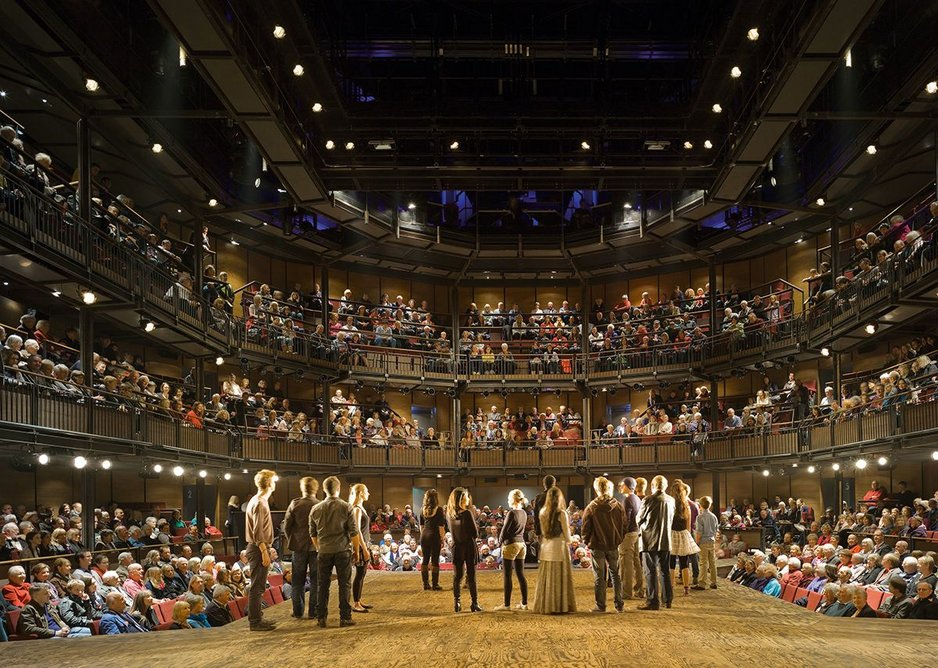 Inside the Royal Shakespeare Theatre which reused 5000 bricks from its previous home.