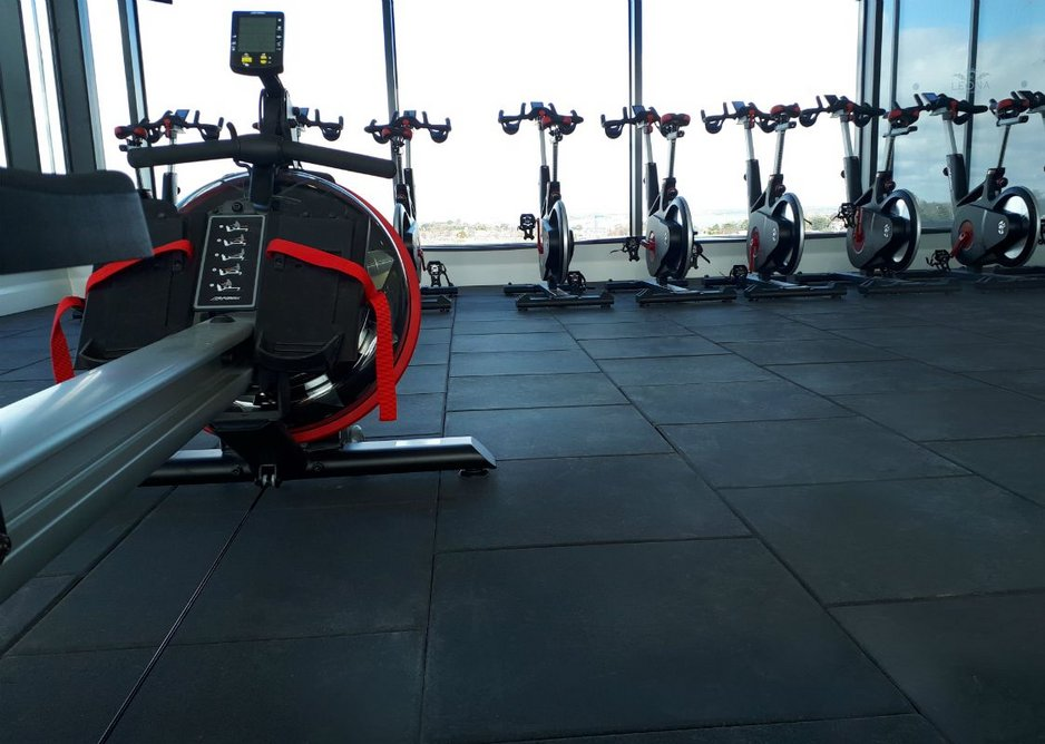 Powershock 300 flooring was chosen for its shock absorption and sound insulation qualities.