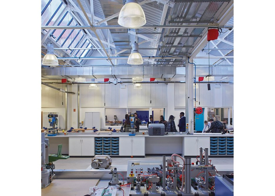 Walters & Cohen's refurbishment maintains the industrial aesthetic but upgrades and appropriates it for educational use.