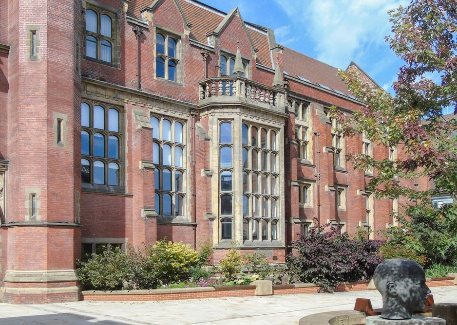 Architectural Bronze Casements' double-glazed bronze windows. Grade II listed Armstrong building, Newcastle University.