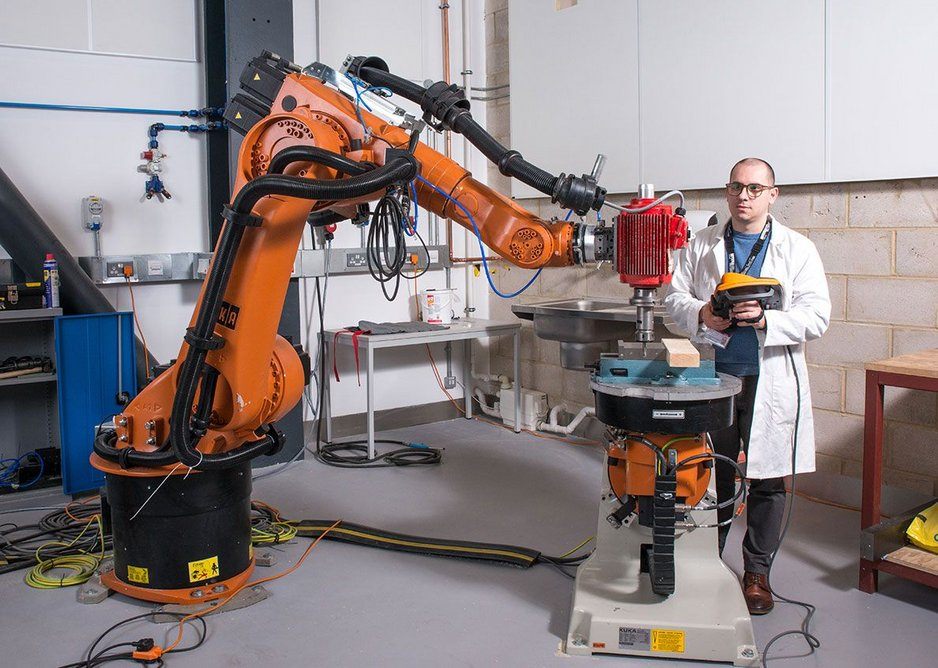 Kuka manufacturing robot at UCL's Here East research and testing facilities, converted by Hawkins\Brown.