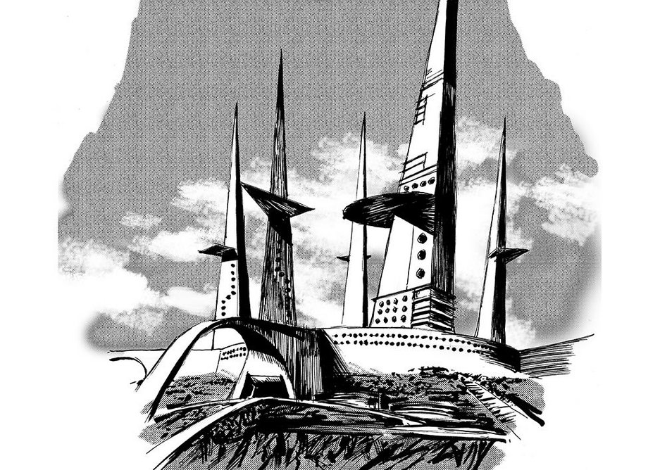 Dan Dare 2 by Piotr Sell. Frank Hampson's 1950s series envisaged a London skyline of shard-like skyscrapers.