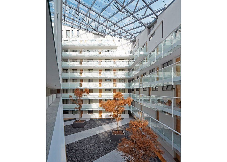 Unpeeled: the black-skinned flats are entered through a white, light filled atrium.
