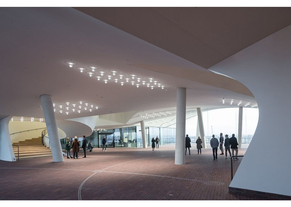 The quasi-external lobby to the auditoria at plaza level has an almost expressionist aesthetic and feels like it wants to be social heart of the complex.