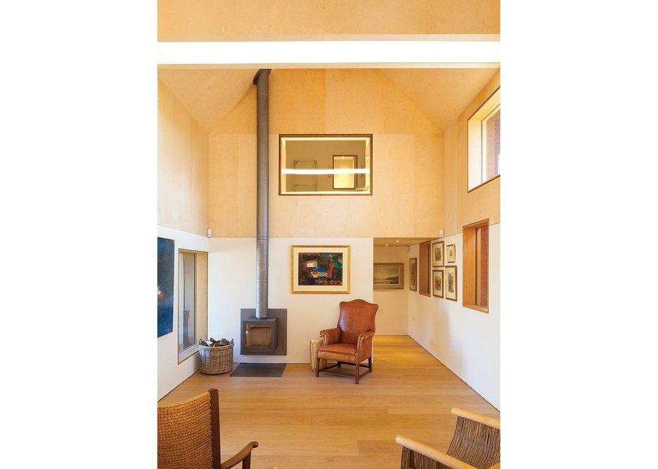 Looking back to the farmhouse entrance: a small, darker ante-space  protects more delicate art.