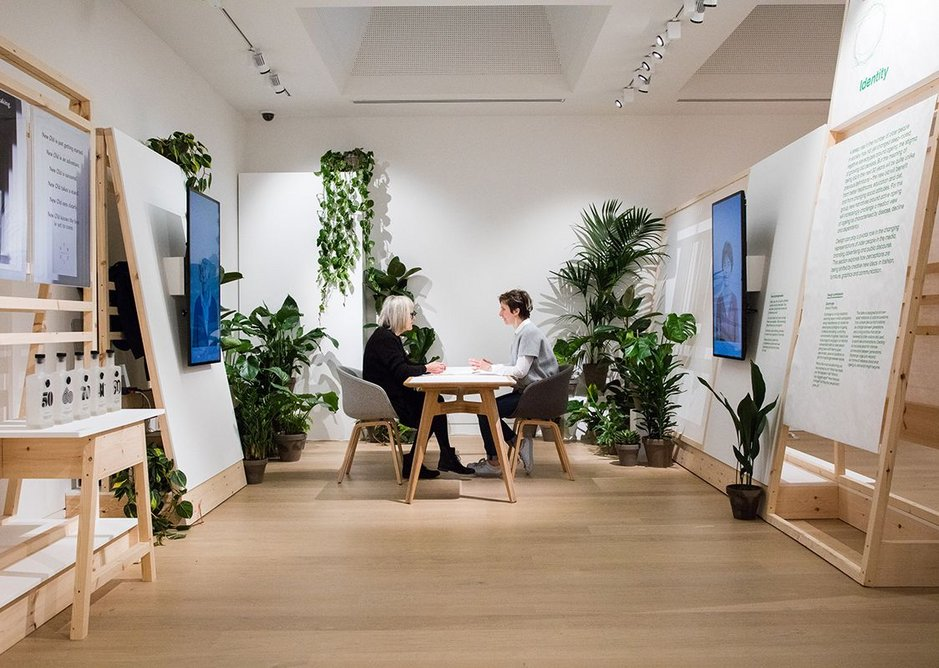 Older people volunteers provide one-to-one conversation in the Exchange installation within NEW OLD.