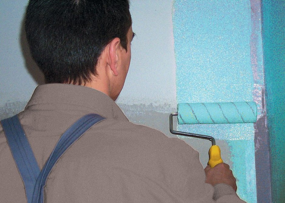Nanodefense Eco being applied to waterproof the shower walls.