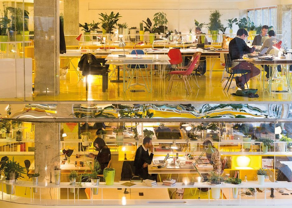 Reflective surfaces, oranges, yellows and greens give an energetic feel to Second Home Spitalfields.
