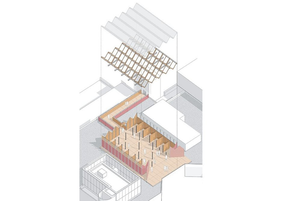Axonometric showing Rooftop Refuge's structure, which combines SterlingOSB Zero roof trusses, panels and decking with polycarbonate roof panels.