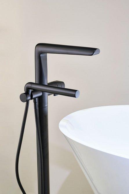 Parabola freestanding bath/shower mixer tap in Black.