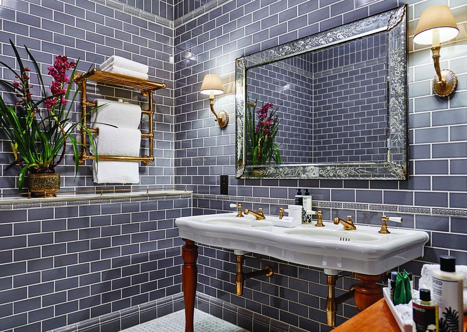 Edwardian opulence is evinced in The Ned's tiled bathrooms with modern interpretations of the contemporary look.