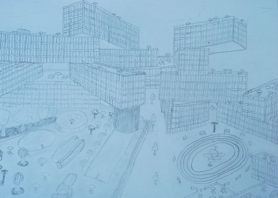 Lev took the OMA Interlace Building in Singapore in this pencil sketch and added detail such as a running track.