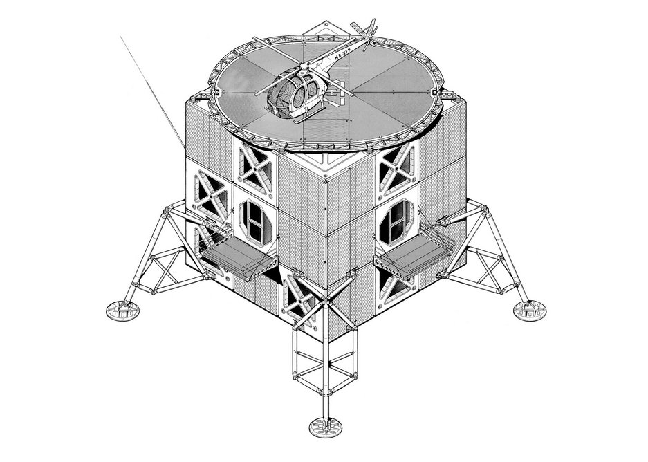 Clear Lunar Excursion Module influence in what is close to a technical drawing.