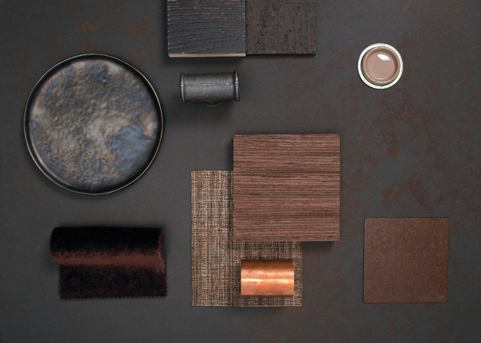 Burnished metallics, wood grains, textures and deep dark shades are increasingly popular choices for contemporary interiors.