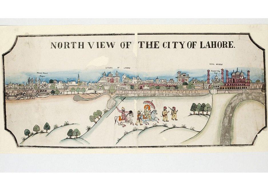 View of Lahore with Maharaja Ranjit Sing, Woodcut, c1870.