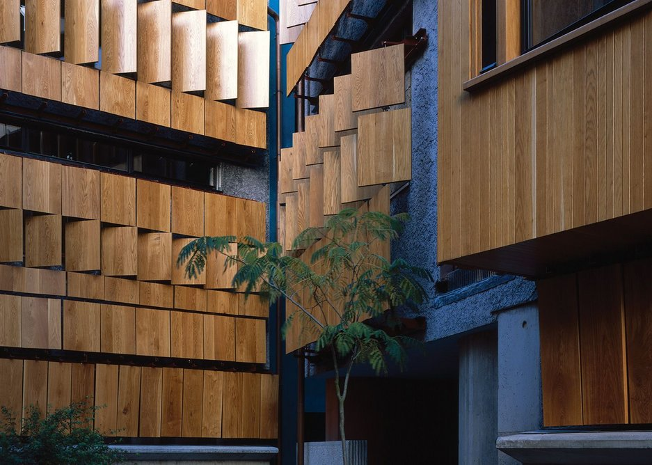 Oak shutters can virtually seal the building off from neighbours and the world.