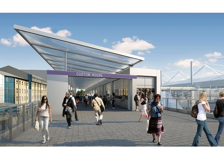 Elevated concourse at Custom House by Allies and Morrison.
