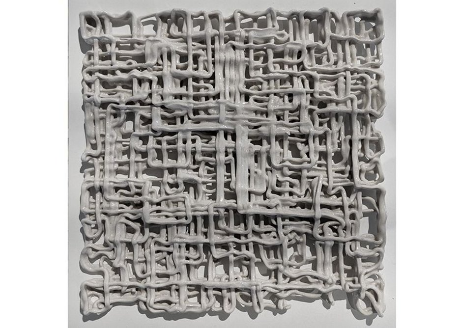 Clay Robotic Tile White Glaze made at Grymsdyke Farm and Material Architecture Lab.