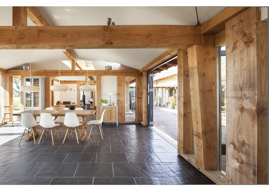 The insulated floor stretches from the kitchen to the dining area.