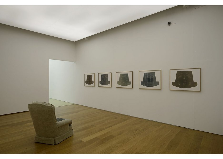 Becky Beasley, OUS installation view, 2017. Collaborative mourning pieces in the Our (for D) installation - developed with David Rhodes - include cyanotype print seat cushions with garden-related imagery. Towner Art Gallery, Eastbourne.
