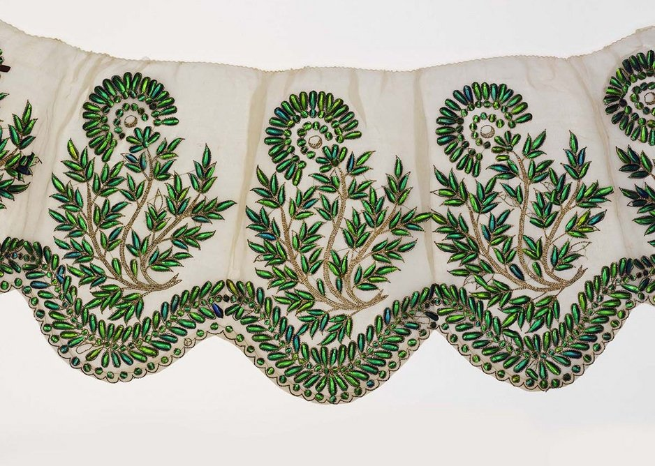 Muslin border embroidered with beetle wings probably Hyderabad 19th century.