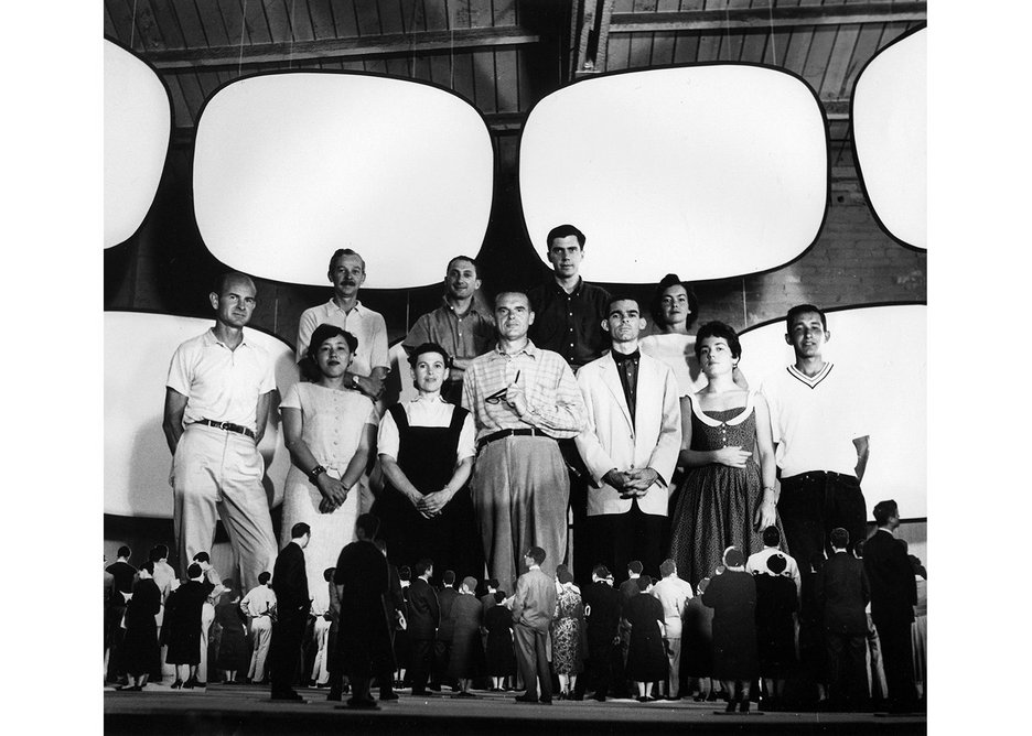 Office staff with model for Glimpses of the U.S.A, Moscow 1959.