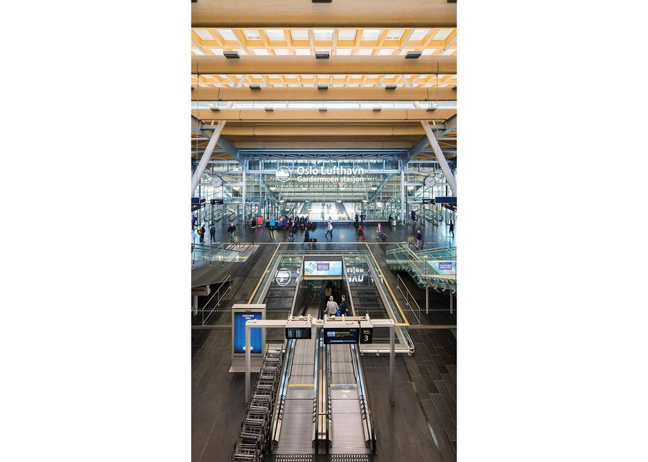Newly incorporated access to the airport's rail station gives airport users greater visual legibility.