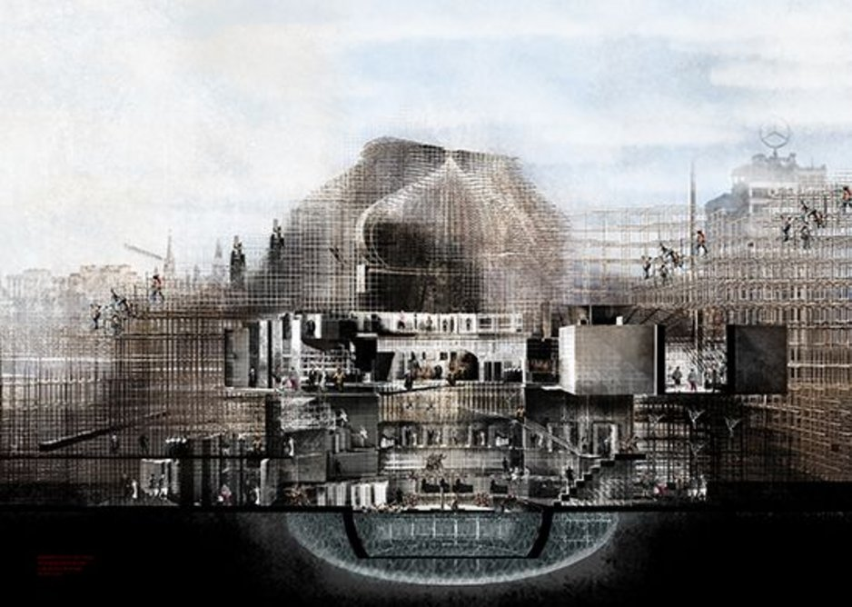 A scaffolding for change in Moscow, proposal by Vidya Pushpanathan