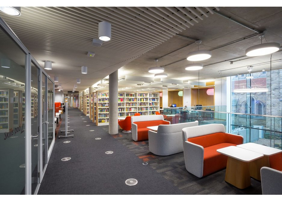 Laidlaw Library at the University of Leeds designed by ADP Architects features a timber Hunter Douglas ceiling