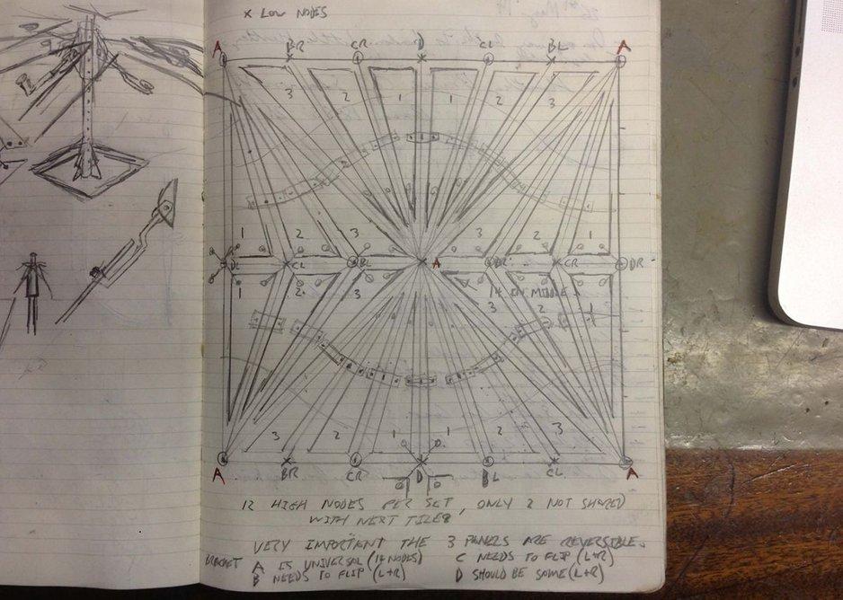 Conrad Shawcross, sketch of sub-panels for The Optic Cloak, June 2014.