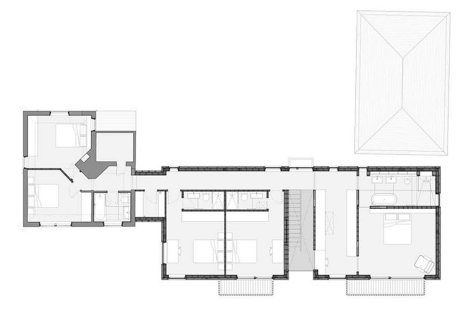 First floor plan of Cherry Tree House, designed by Guttfield Architecture.
