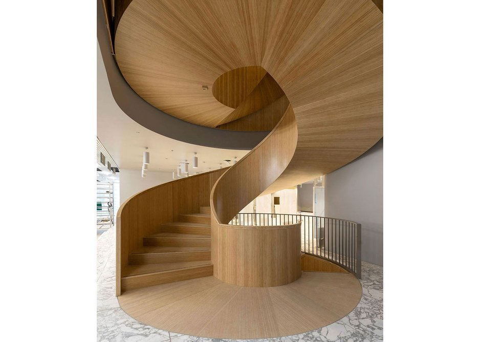 The conference facilities and auditorium have their own timber spiral stair located next to the café on the ground floor.