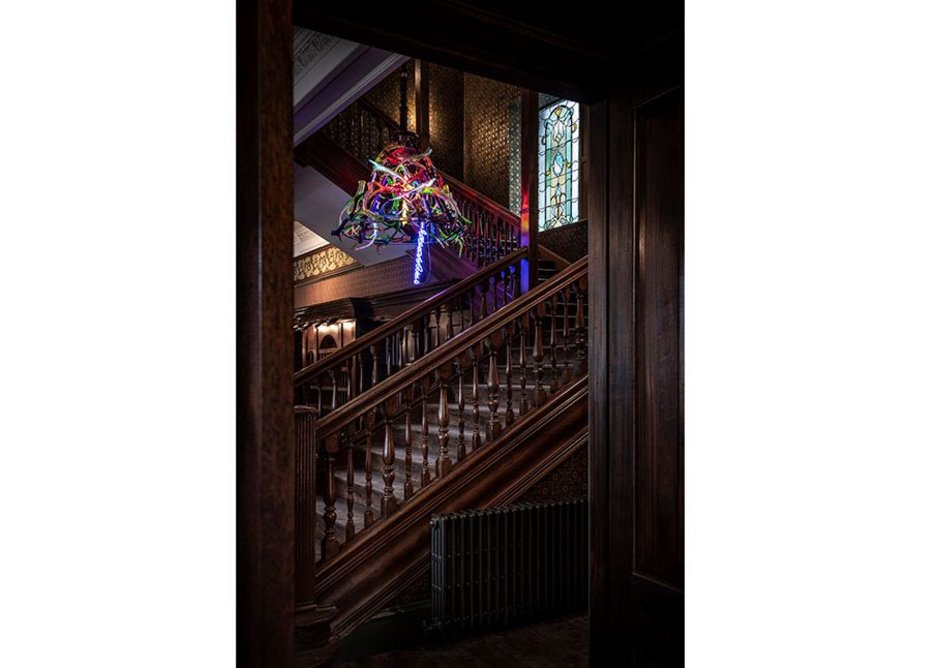 Historic staircase and modern art: Fife Arms, Braemar, Cairngorms.